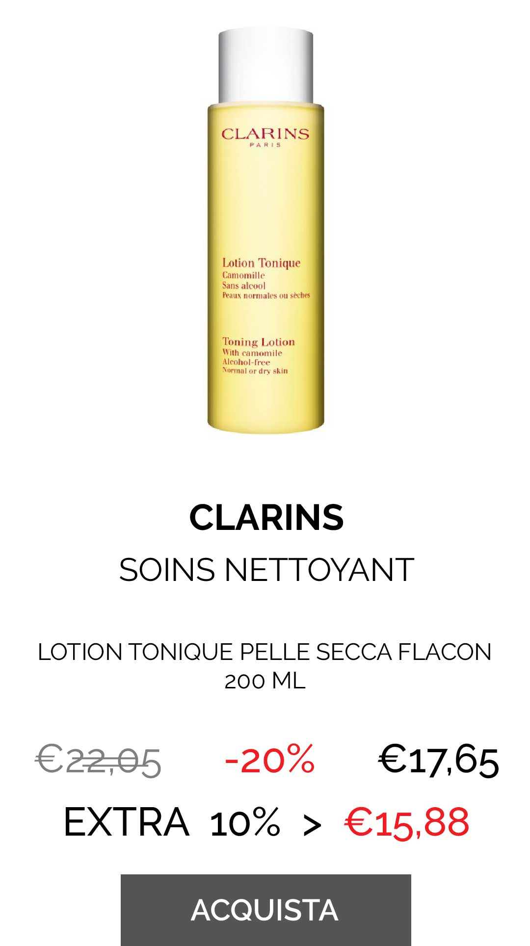 CLARINS - LOTION TONIQUE PELLE SECCA FLACON 200 ML